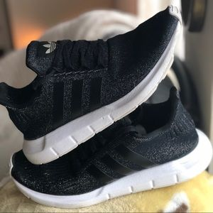 Sparkly Adidas Swift Run Core Black & White Shoes